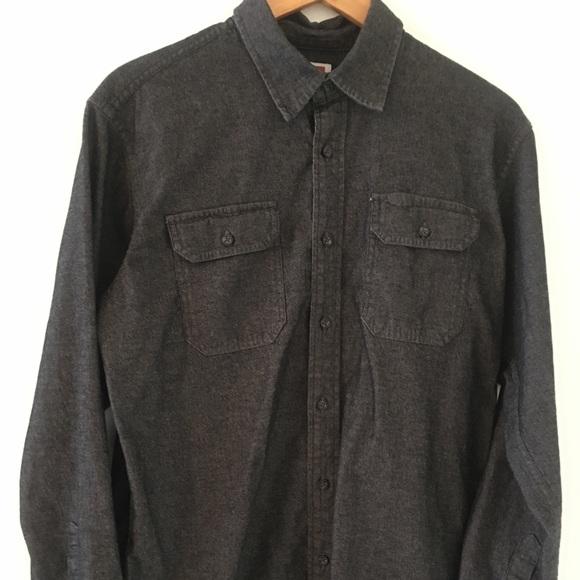 Wrangler shirt  Dark Gray Denim Button Long Sleeve